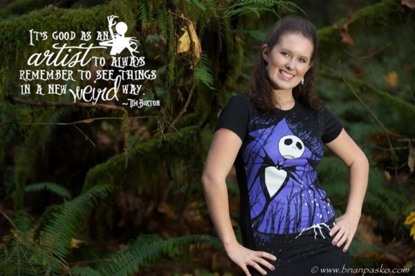 Portrait of a Cleveland High School senior girl picture in foret wearing a Tim Burton shirt.