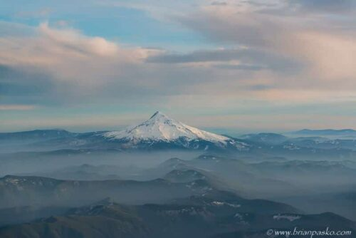 Aerial photograph of Mount Hood in Oregon, also known as Wyeast by native tribes and inhabitants.