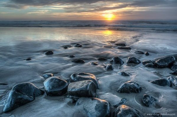 Photograph of rocks emerging from the sand at Manzanita Beach on the Oregon Coast.