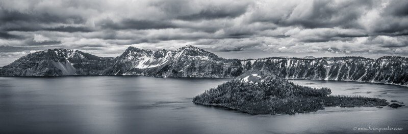 Black and white image of Wizard Island in Crater Lake National Park, Oregon.