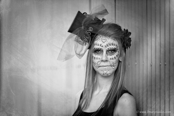 Fashion portrait of a sugar skull model taken by Senior Portrait and Family picture photographer Brian Pasko.