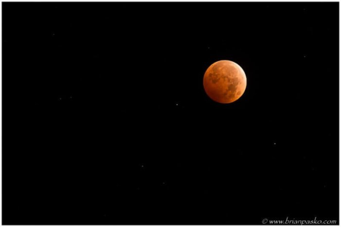 Photograph of the Blood Moon during a total lunar eclipse.