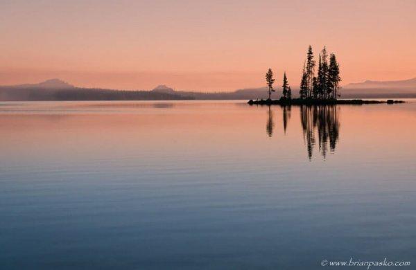 Sunrise on Waldo Lake, Oregon.