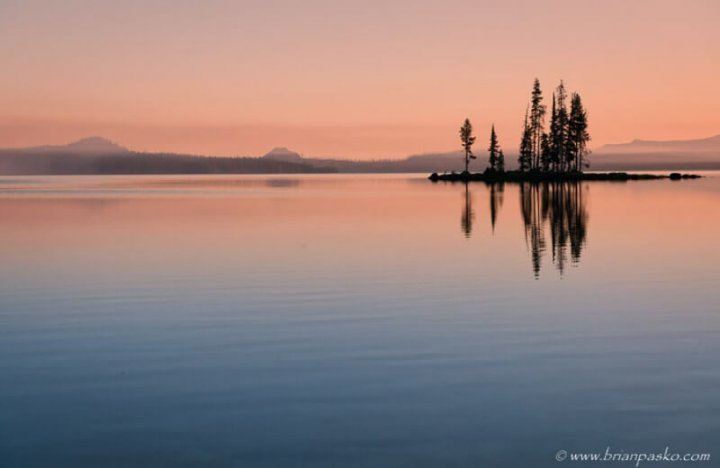 Sunrise on Waldo Lake, Oregon.