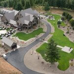 Aerial view of private estate and wedding reception in Sandy Oregon taken fo helicopter.