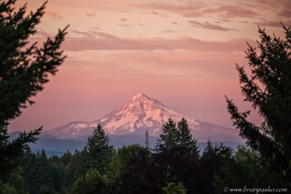Fine art landscape and nature photograph of Mount Hood bathed in color at sunset from Boring, Oregon.