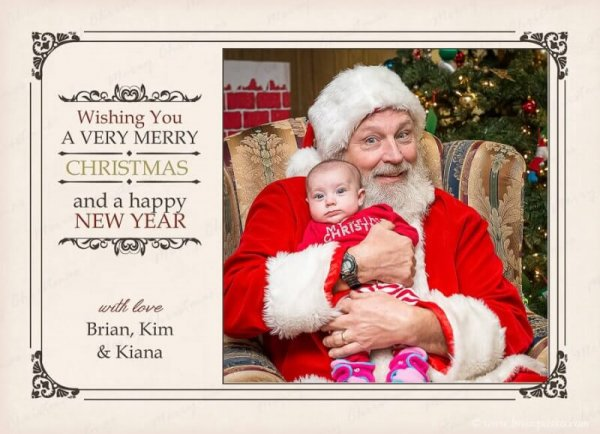 Portrait of baby sitting on Santa Clause lap picture on family holiday card.