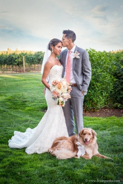 Portrait of beautiful bride and groom with her dog beautiful picture at Postalwaits country wedding venue in Canby Oregon.