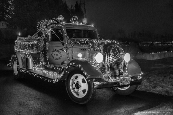 Boring Fire District engine decorated in holiday lights for Christmas Celebration in Oregon.
