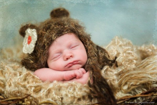 Portrait of a sleeping newborn baby picture with a brown fur hat and white flower.