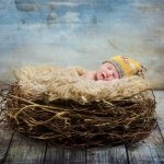 Slumbering newborn portrait with baby posed sleeping in a twig nest and picture with yellow knit hat and texture background.