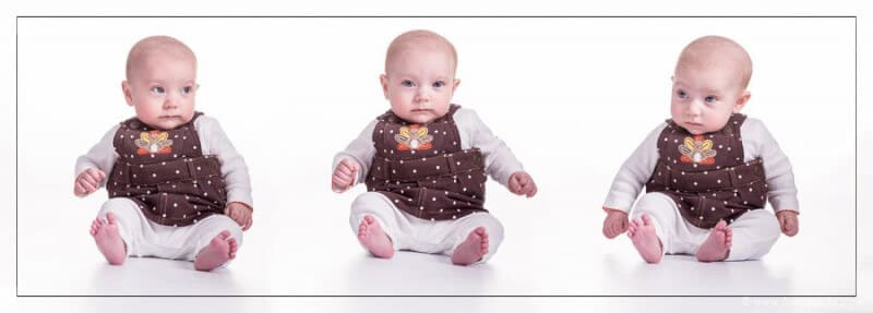 Tryptic of three baby portraits with picture in thanksgiving turkey vest on a pure white background.