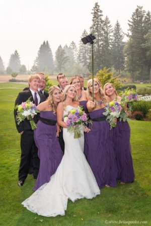 Portrait of a wedding party taking a selfie picture of wedding at Camas Meadows Golf Club in Washington.