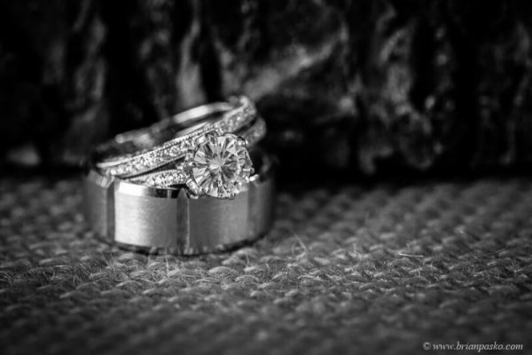 Picture of bride and groom's wedding rings taken at Postalwaits country wedding venue in Canby Oregon.
