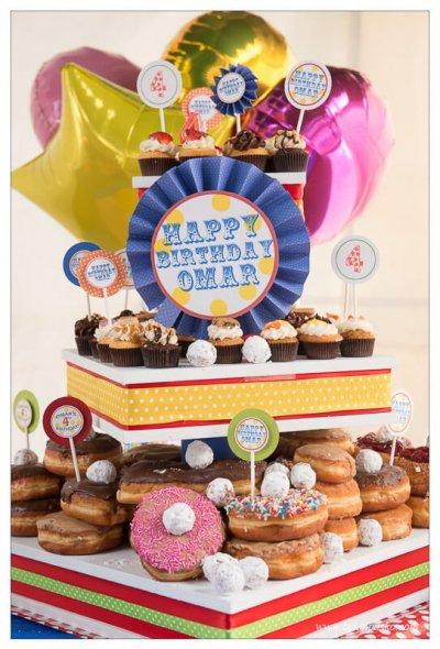 Precious Donuts Birthday Cake for boy fighting cancer.