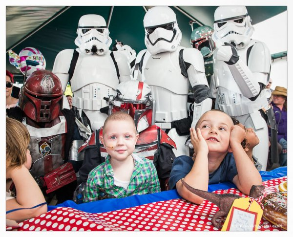 Star Wars Oregon celebrating a four year old boy's birthday who is fighting cancer.