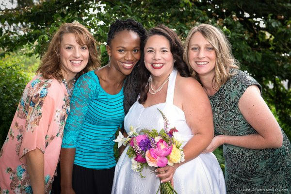 Portrait of a bride and her bridesmaids before a wedding in McMinnville, Oregon.