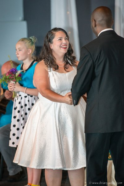 Portrait of a bride saying her vows during a wedding in McMinnville, Oregon.