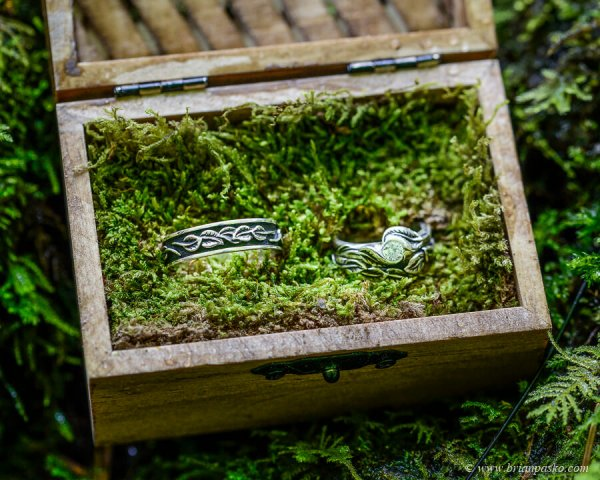 Wedding rings in a wooden box in moss for Columbia Gorge wedding at Wahlclella Waterfall.