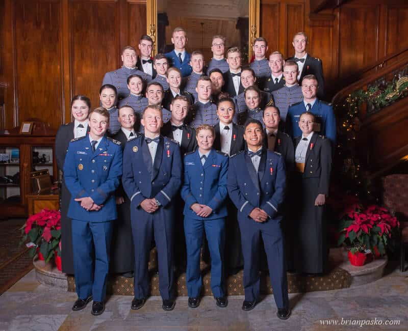 Military Cadets at the All Services Academies Ball at the Benson Hotel in Portland, Oregon.