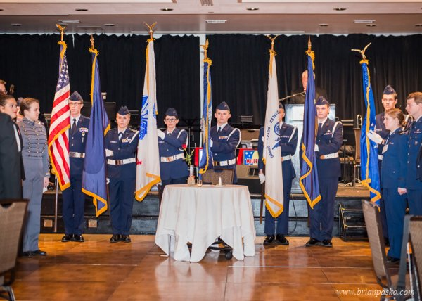 Color guard at opening ceremony of the All Services Academies Ball at the Benson Hotel in Portland, Oregon.