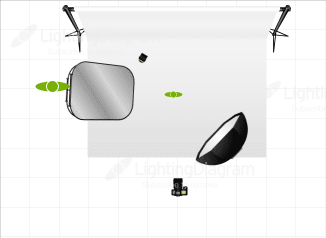 Lighting Diagram describing setup of headshot portrait for eight year old competitive dance girl on white background.
