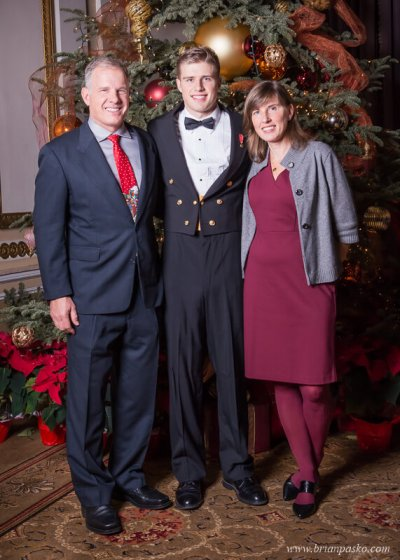 Maerchant Marine and his parents at the All Services Academies Ball at the Benson Hotel in Portland, Oregon.