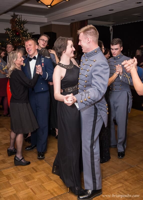 Military Cadets dancing at the All Services Academies Ball at the Benson Hotel in Portland, Oregon.