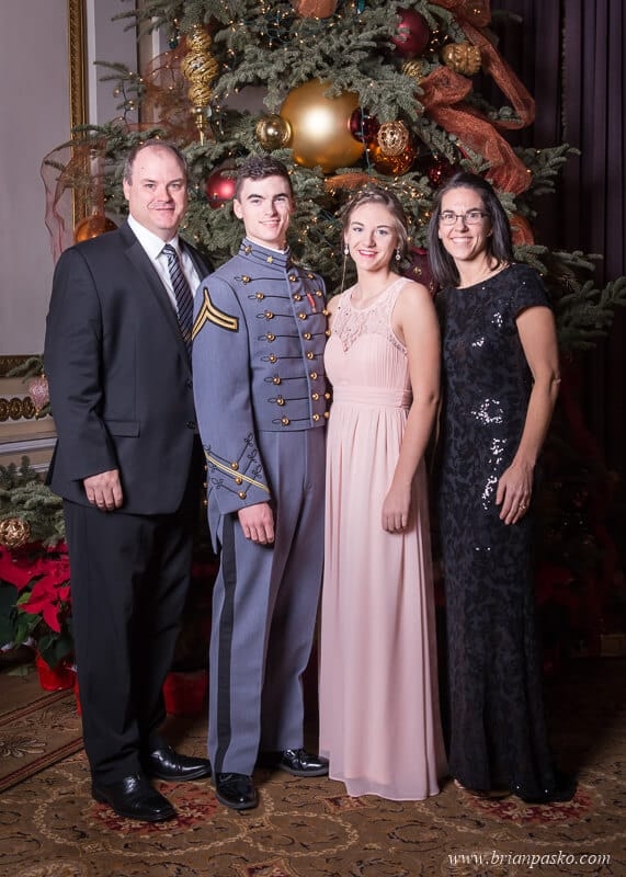 Portrait of military family at the All Services Academies Ball at the Benson Hotel in Portland, Oregon.