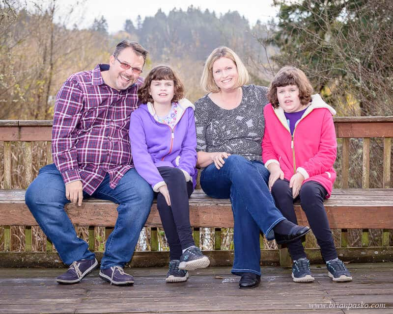 Family picture of two special needs twins and their parents in Happy Valley Oregon.