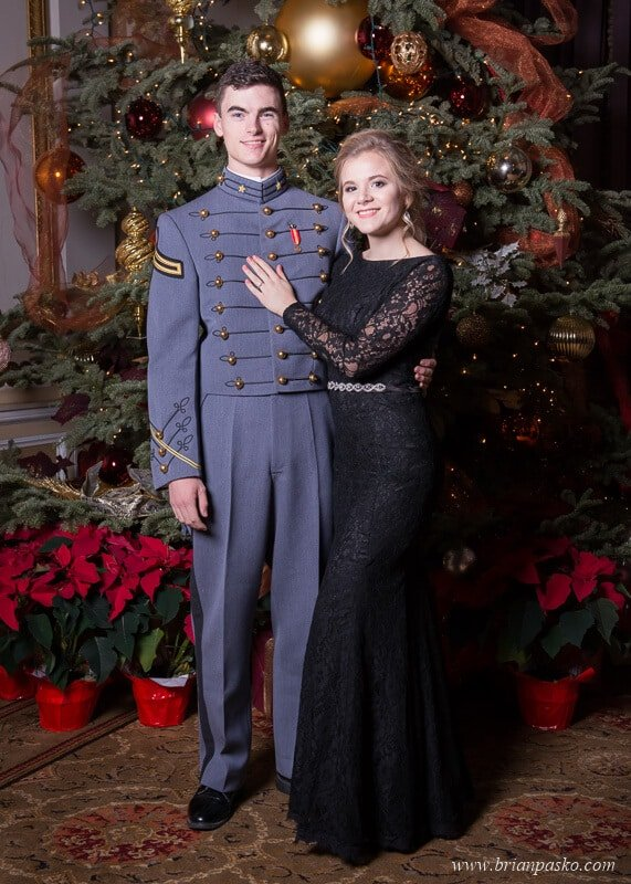 Portrait of a West Point Cadet and his date at the All Services Academies Ball at the Benson Hotel in Portland, Oregon.