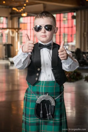 Portrait of the ring bearer in Scottish Kilt at wedding at the Castaway in Portland, Oregon.