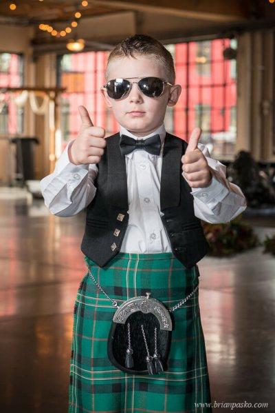 Portrait of the ring bearer in Scottish Kilt at wedding at the Castaway in Portland, Oregon.