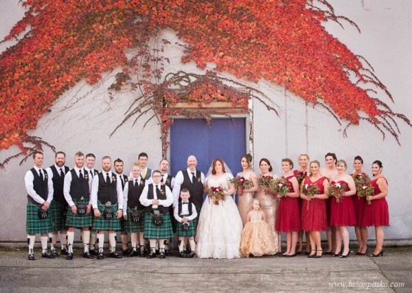 Portrait of a Bride and Groom and their Wedding party at wedding at the Castaway in Portland, Oregon.
