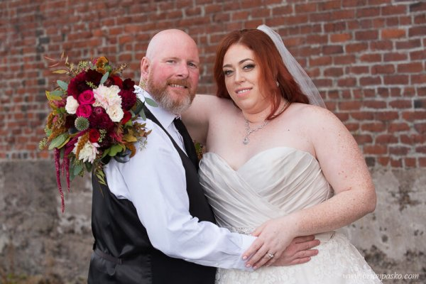 Portrait of the Bride and Groom at wedding at the Castaway in Portland, Oregon.