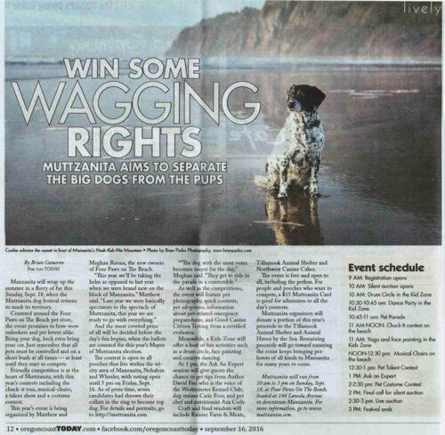 Image of Blue Healer on Manzanita Beach published in Oregon Coast Today article about the Mutzanita Dog Festival.