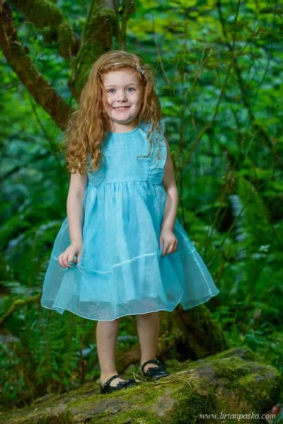 Portrait of a four year old girl standing on a rock in an old forest.