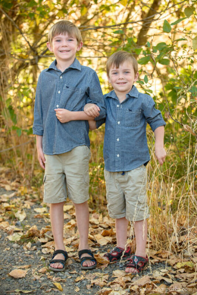 Family portrait of two young brothers at Powell Butte Nature Park in Portland, Oregon.
