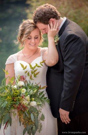 Bride and Groom before wedding near Laurelhurst Park in Portland.