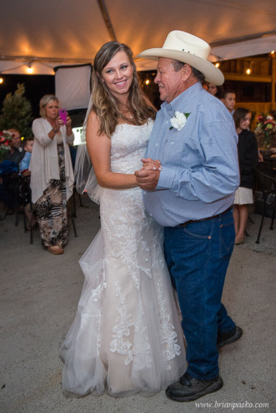 Father and bride dance after the wedding ceremony at the Heisen House Vineyard in Battle Ground Washington.