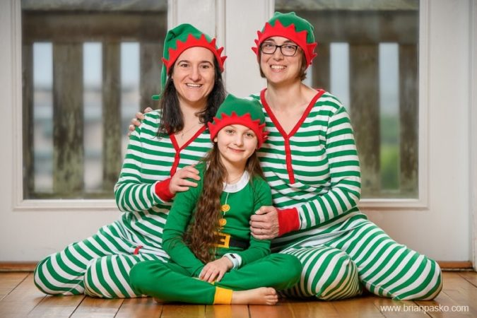 Holiday Card Portrait with Elf Pajamas - Fmaily of Three